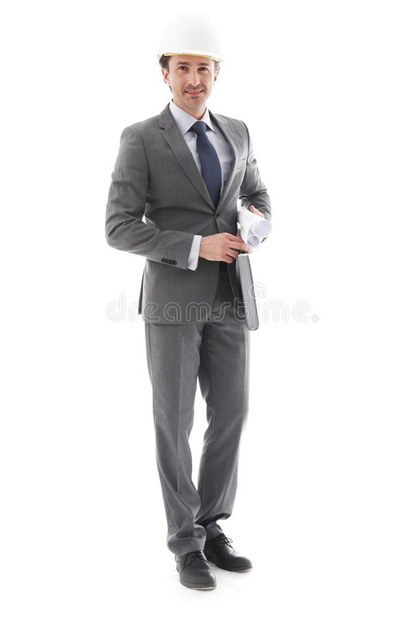Businessman in helmet stock photography
