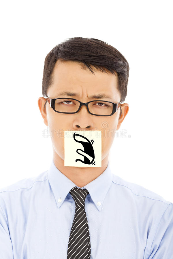 Businessman with helpless and blame expression on sticker. In studio royalty free stock images