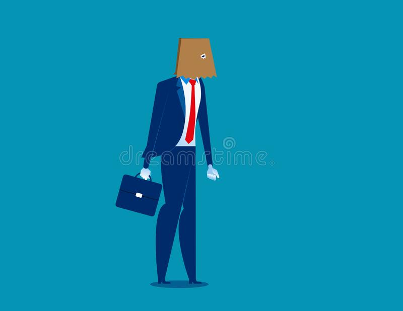 Businessman hidden identity paper bag head. Concept business vector illustration. Character flat royalty free illustration