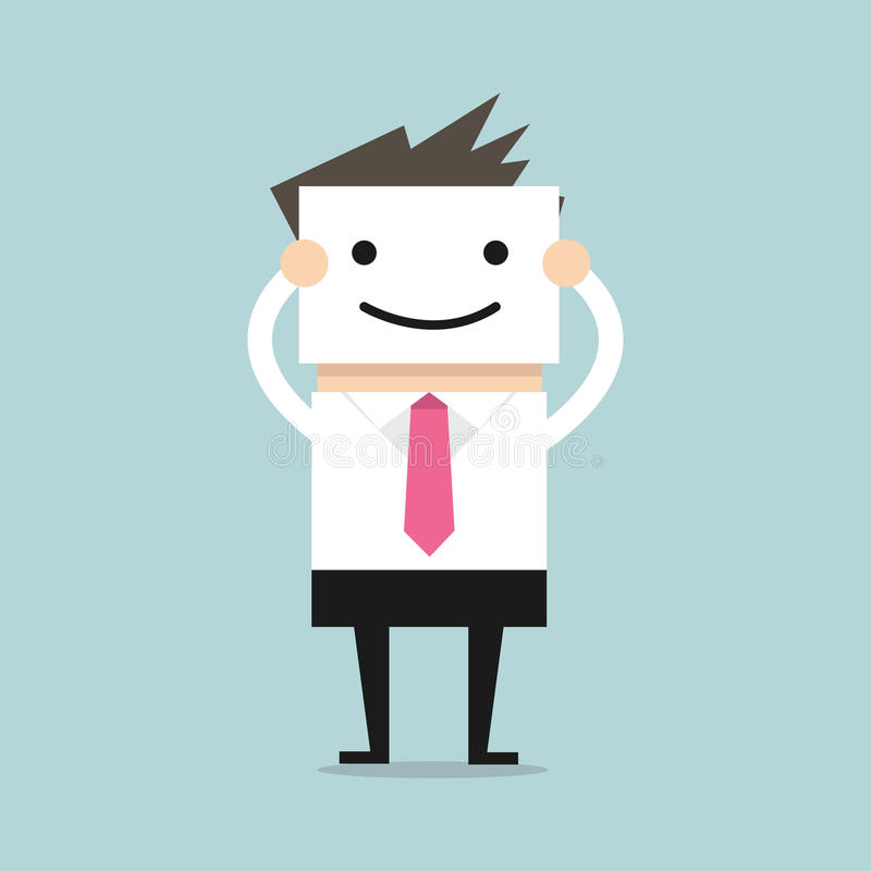 Businessman hide his real face by holding smile mask. Vector illustration stock illustration