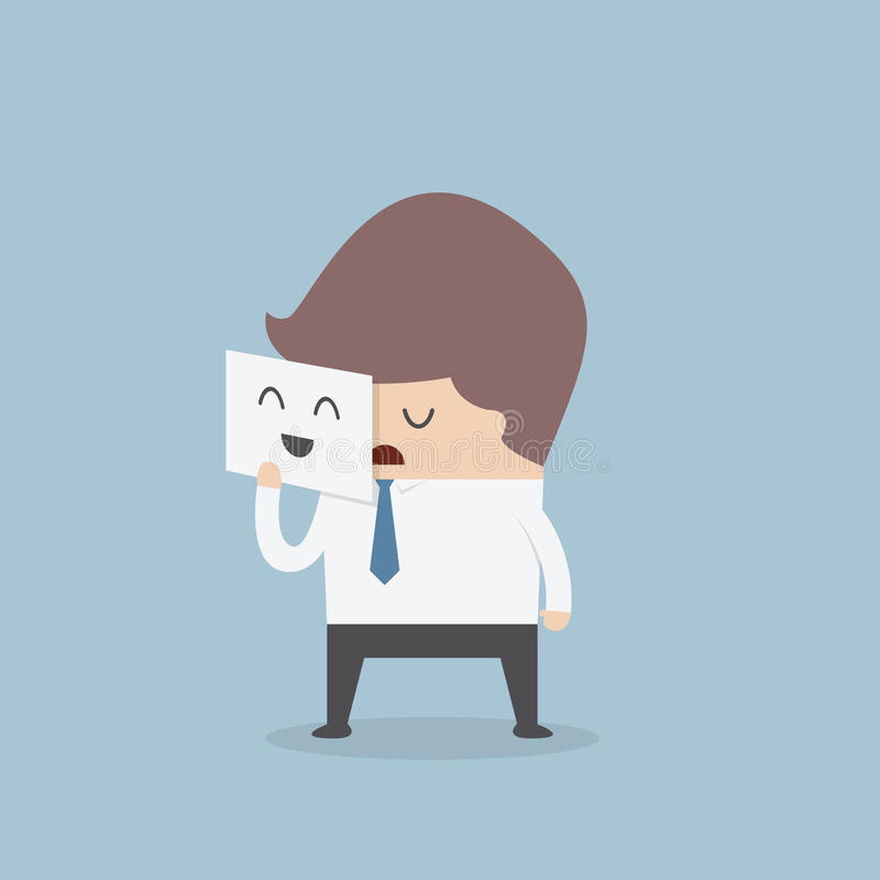 Businessman hide his tired face by holding smile mask royalty free illustration