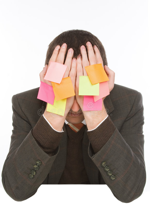 Download Businessman Hiding Behind Stickers Stock Image - Image: 7610367