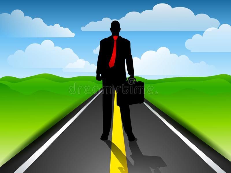 Businessman Highway Blue Sky stock photography