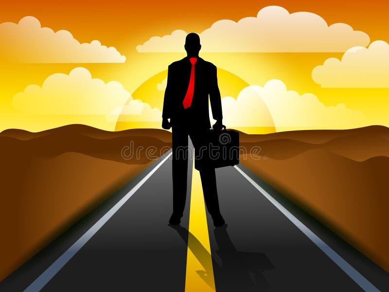 Businessman Highway Sunset vector illustration