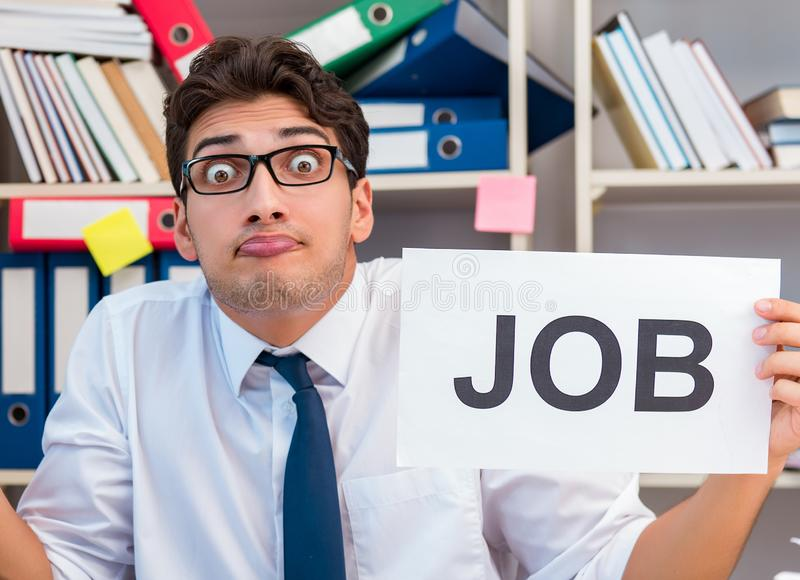 Businessman hiring new employees to cope with increased workload. The businessman hiring new employees to cope with increased workload stock image