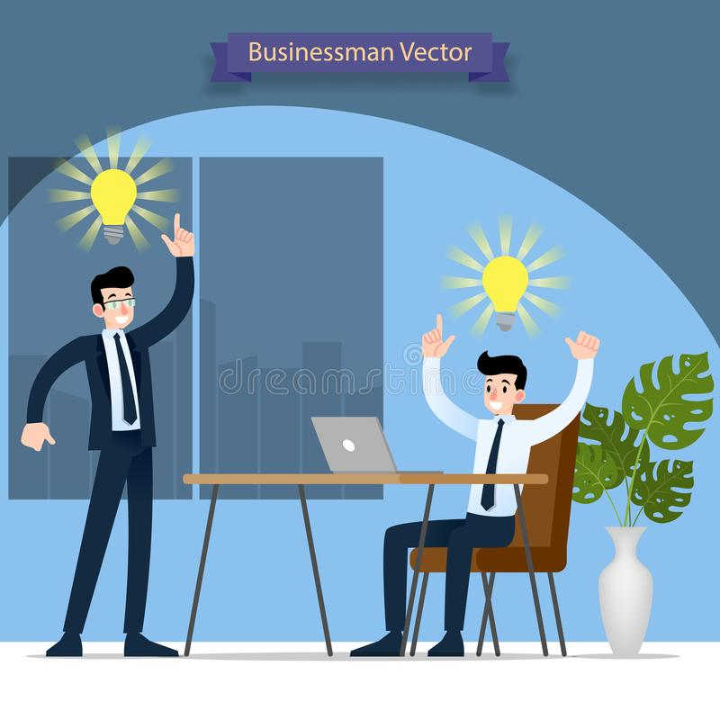 Businessman and his boss discussing and find solution and work successful in the office with symbolic bulb above their head. royalty free illustration