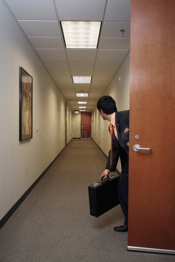 Businessman and his briefcase royalty free stock image