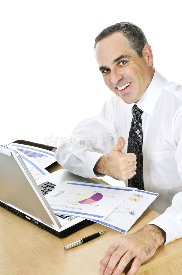 Download Businessman At His Desk On White Background Stock Image - Image: 7699581