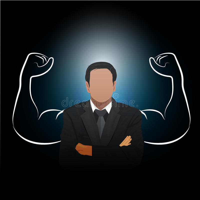 Businessman with his strong shadow, successful, leadership, confident concept vector illustration