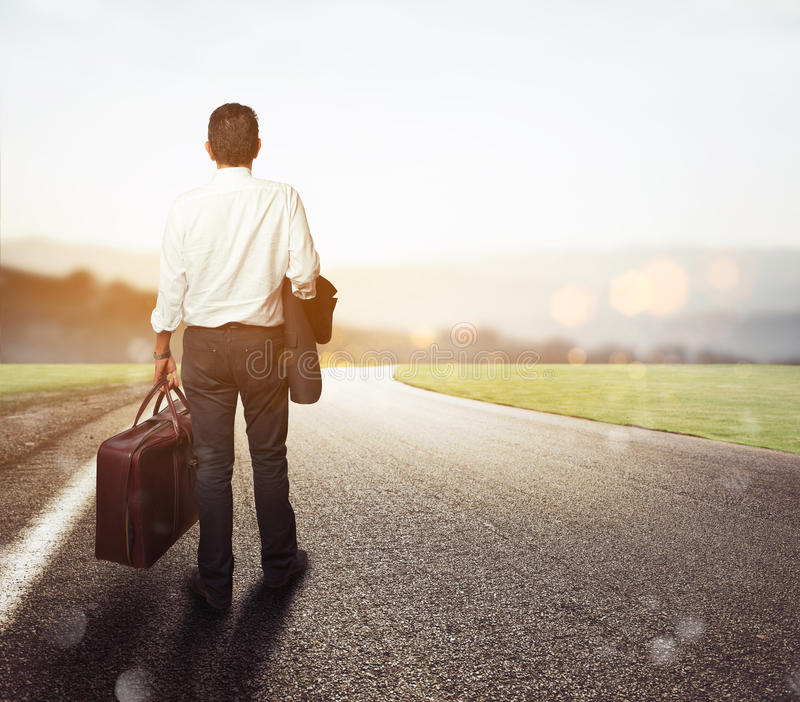 Businessman is on his way out stock images