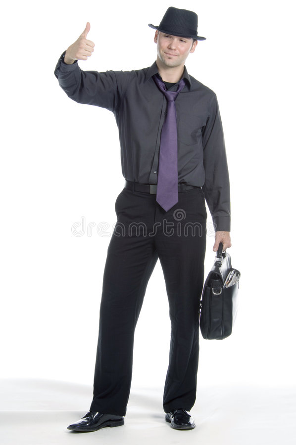 Businessman hitch-hiking royalty free stock photos