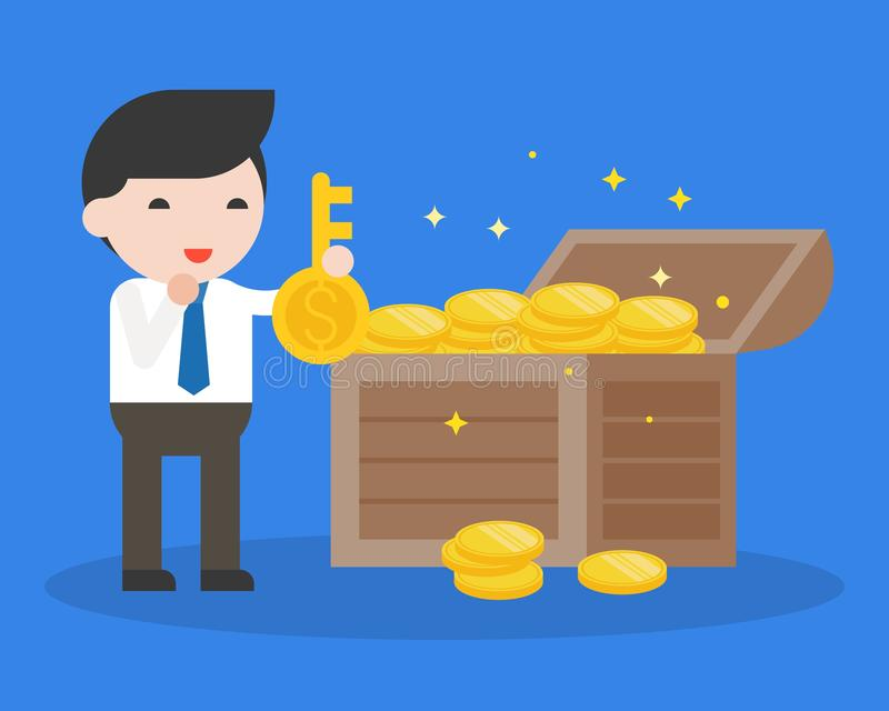 Businessman hold big key and treasure, business situation key of. Success concept, ready to use flat design stock illustration