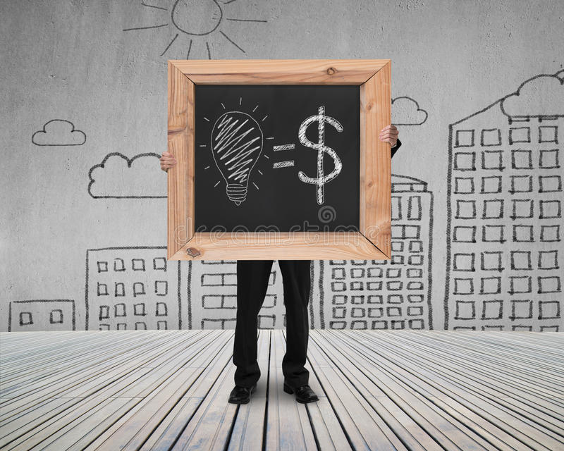 Businessman hold blackboard with hand-drawn ideas equal money co. Ncept on cityscape doodles concrete wall and wooden floor background stock illustration