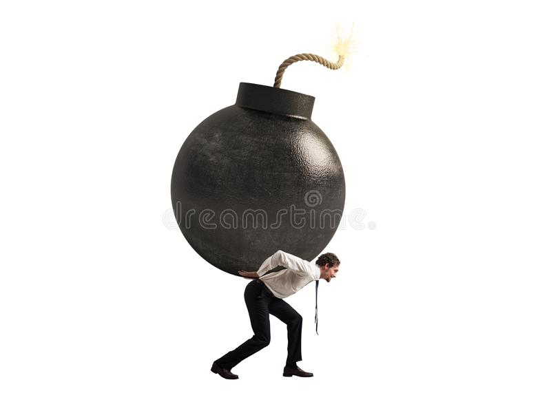 Businessman hold a bomb. Concept of difficult career and failure. Isolated on white background. Businessman hold a big bomb. Concept of difficult career and stock photo