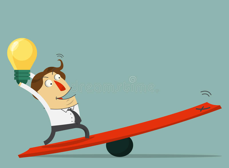 Businessman hold the bulb of idea and stand on the lever. The way to success with his idea. Cartoon character royalty free illustration