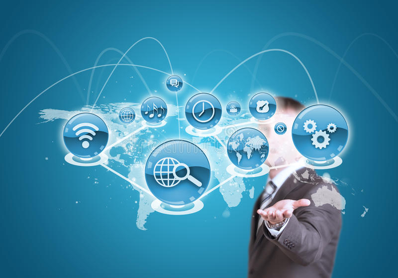 Businessman hold cloud of application icon and stock photo