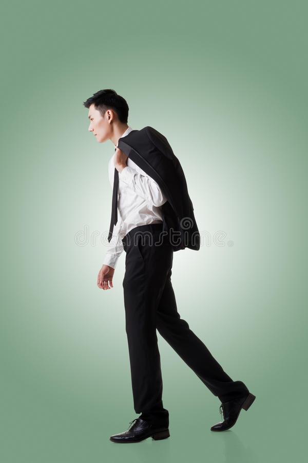 Businessman hold coat stock images