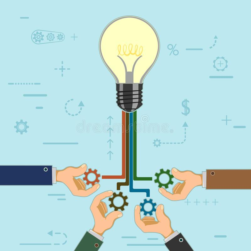Businessman hold gears in hands stock illustration