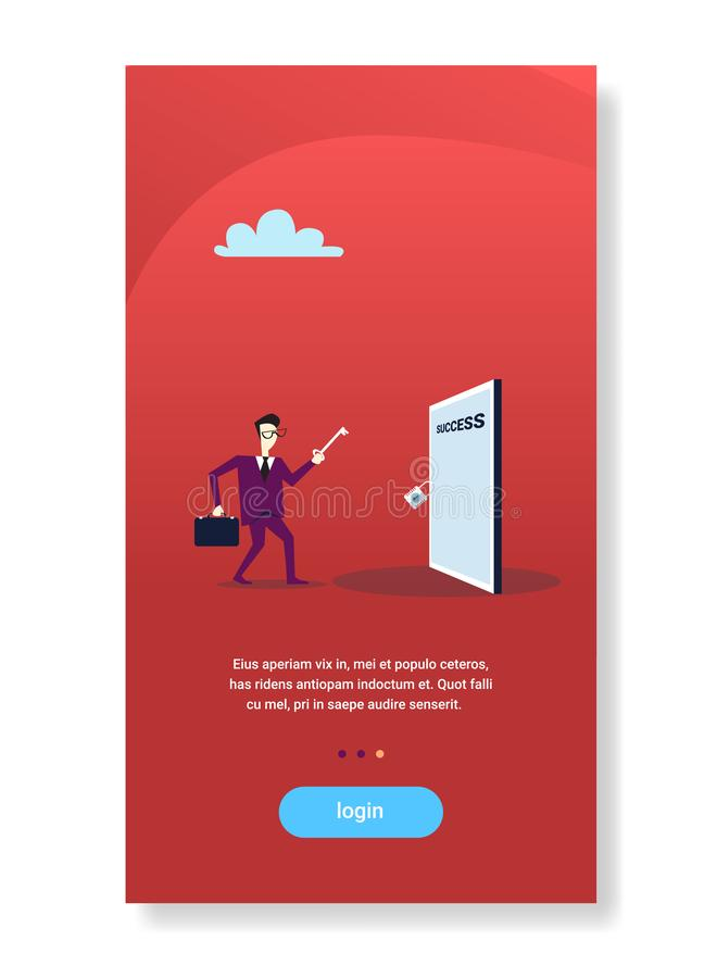 Businessman hold key from success door successful career opportunity concept flat vertical copy space. Vector illustration stock illustration