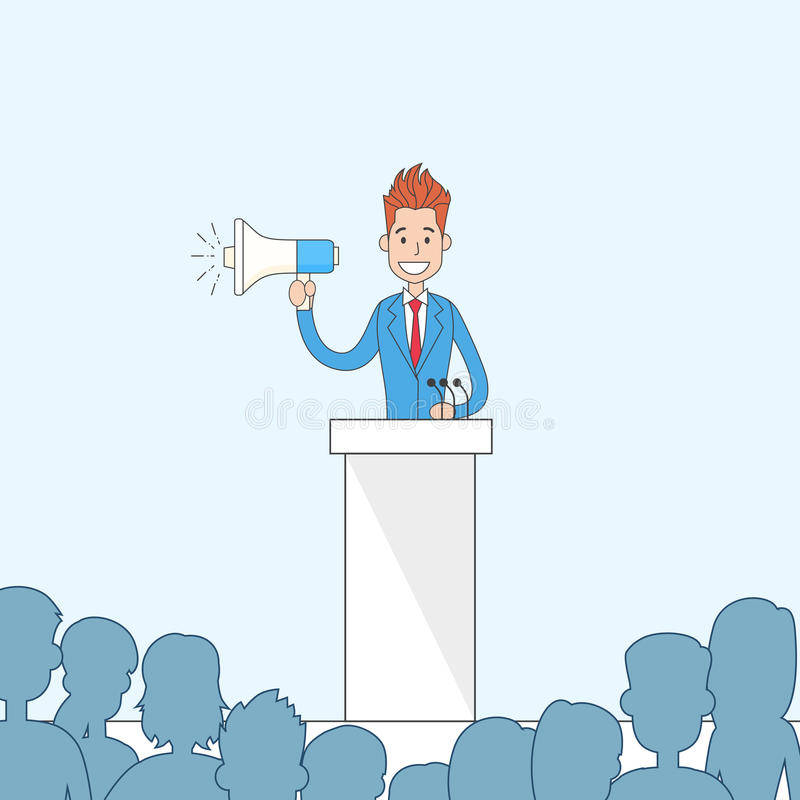 Businessman Hold Megaphone Loudspeaker Stand Tribune Speech. Vector Illustration stock illustration