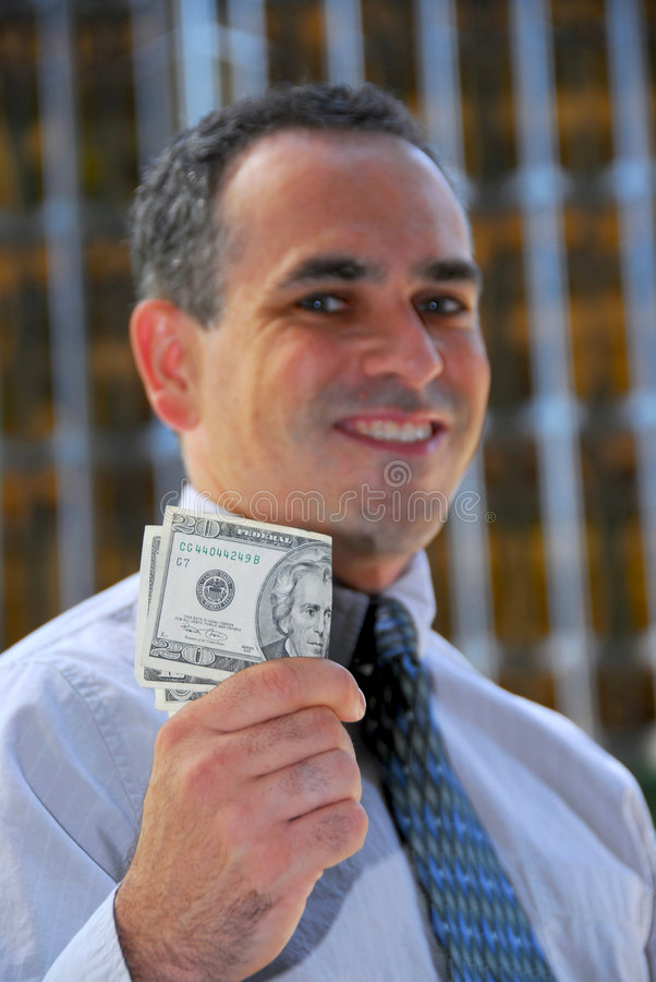 Businessman hold money royalty free stock images