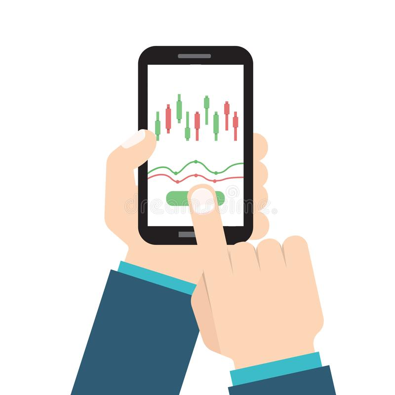 Businessman hold smartphone with candlestick chart app. vector illustration