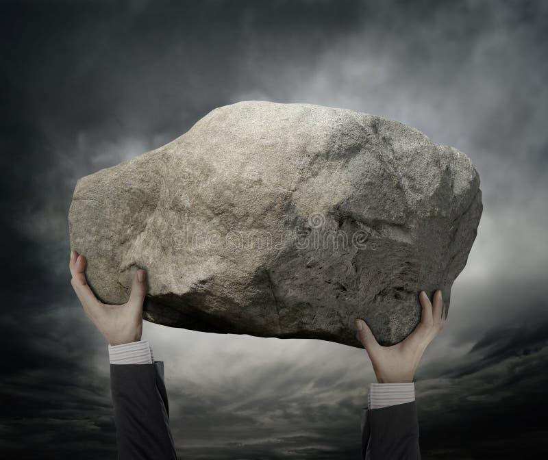 Businessman Hold a stone