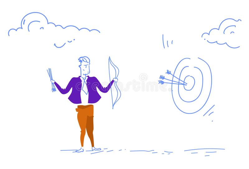 Businessman holding arrow target goal business strategy success concept man team leader sketch doodle horizontal stock illustration
