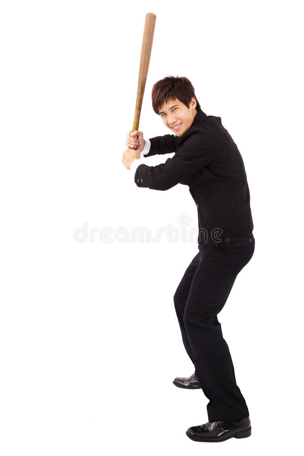 Businessman holding a baseball bat royalty free stock photos