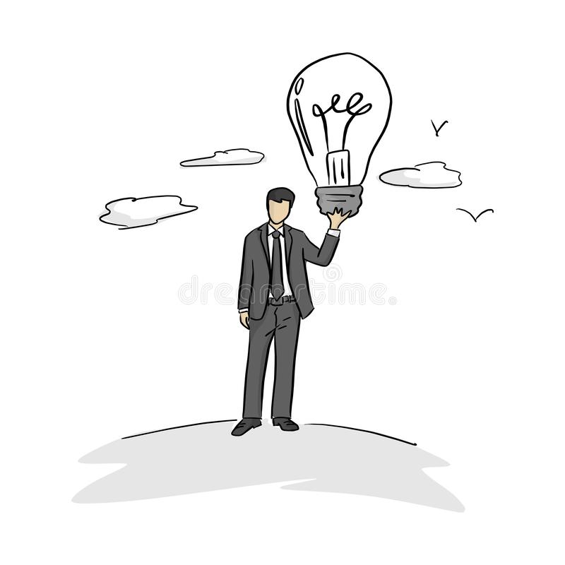 Businessman holding big bulb vector illustration with black lines isolated on white background. Business idea concept royalty free illustration