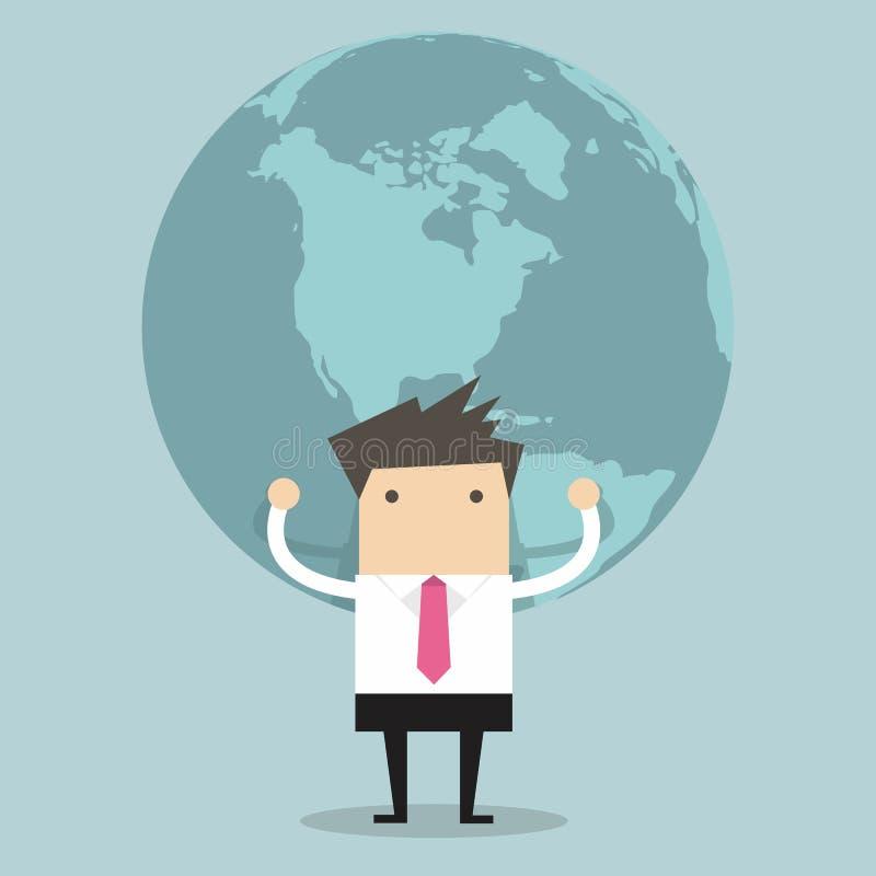 Businessman holding big globe stock illustration