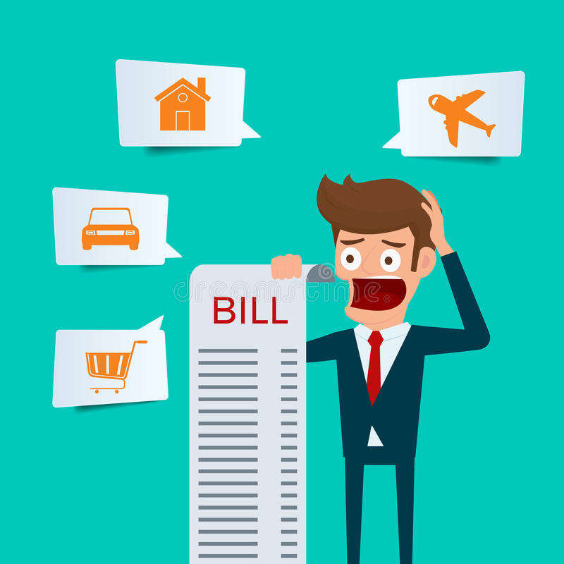 Businessman holding bills feels headache and worried about paying a lot of bills. Businessman no money. debt concept royalty free illustration