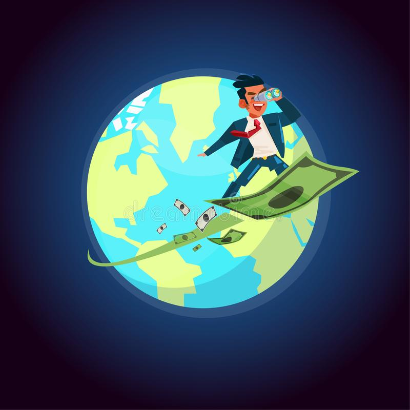 businessman holding binocular on flying money, fly arond the world orbit. opportunity for money - vector illustration vector illustration