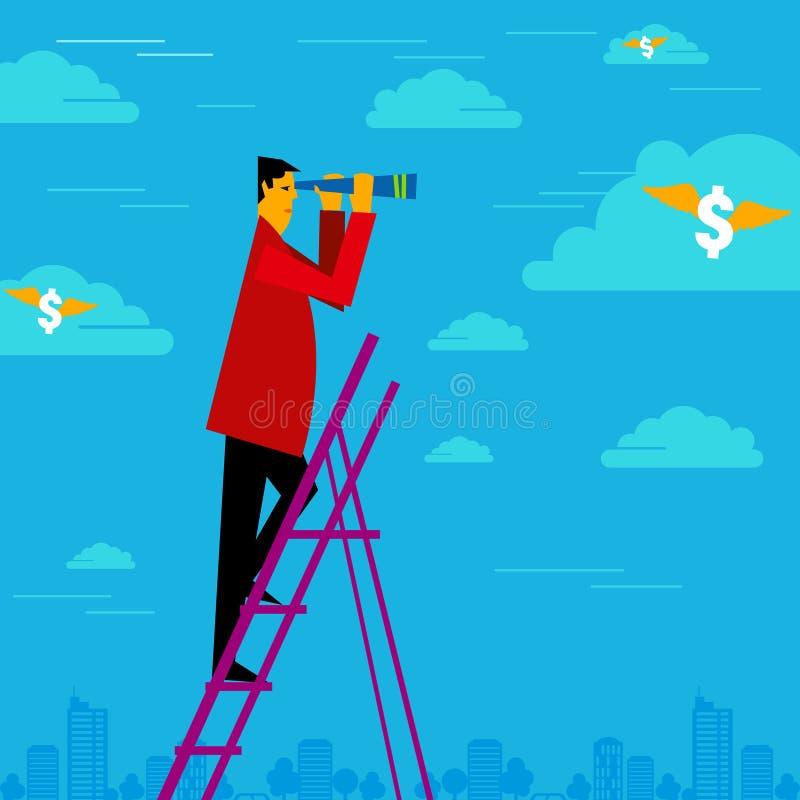 businessman holding binoculars and watching the money stock illustration