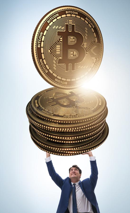 The businessman holding bitcoin in cryptocurrency blockchain con. Businessman holding bitcoin in cryptocurrency blockchain concept stock photography