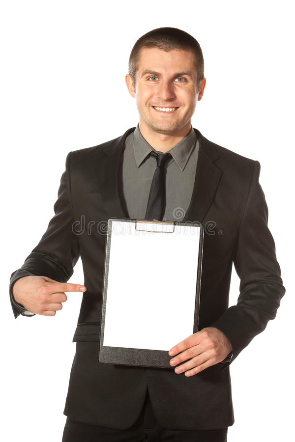 Businessman holding blank clipboard stock images