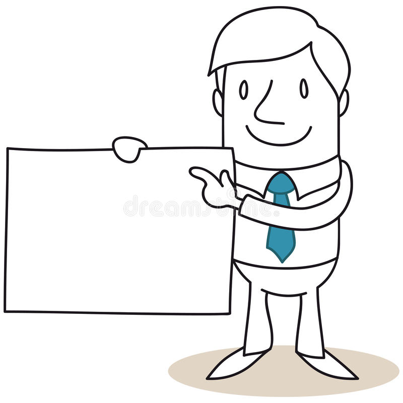 Businessman holding blank sign royalty free illustration