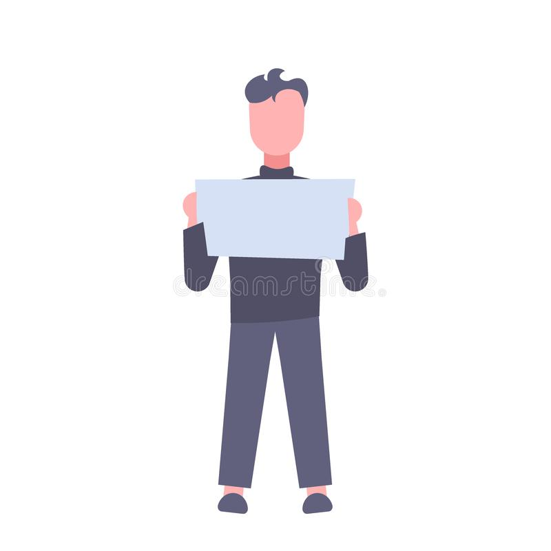 Businessman holding blank white board signboard business man showing empty copy space male cartoon character full length stock illustration