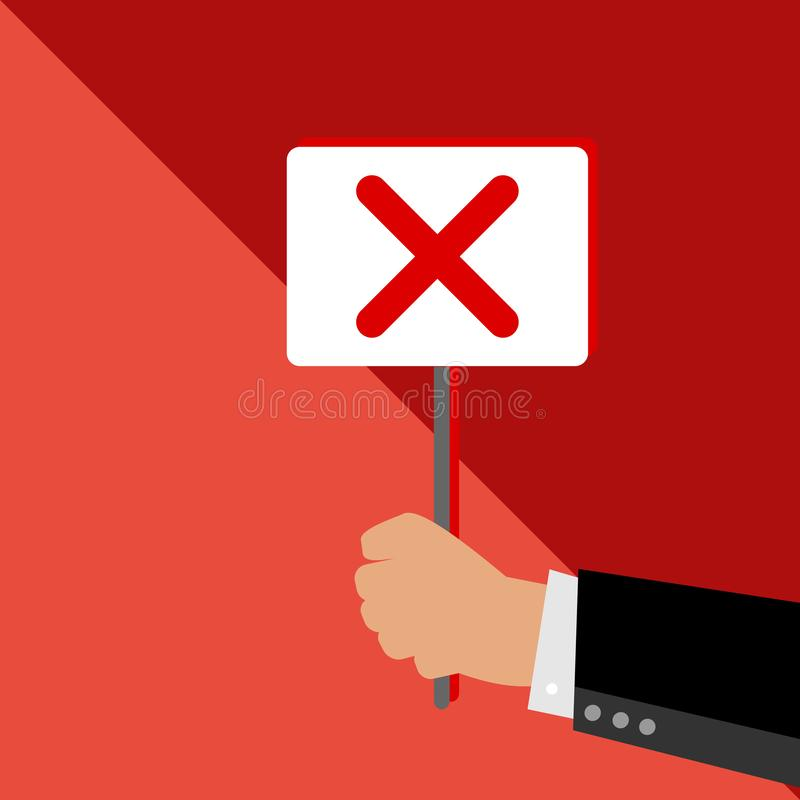 Businessman holding a board for non-approval. Symbol for decline. royalty free illustration
