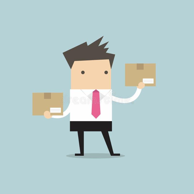Businessman holding a box royalty free illustration