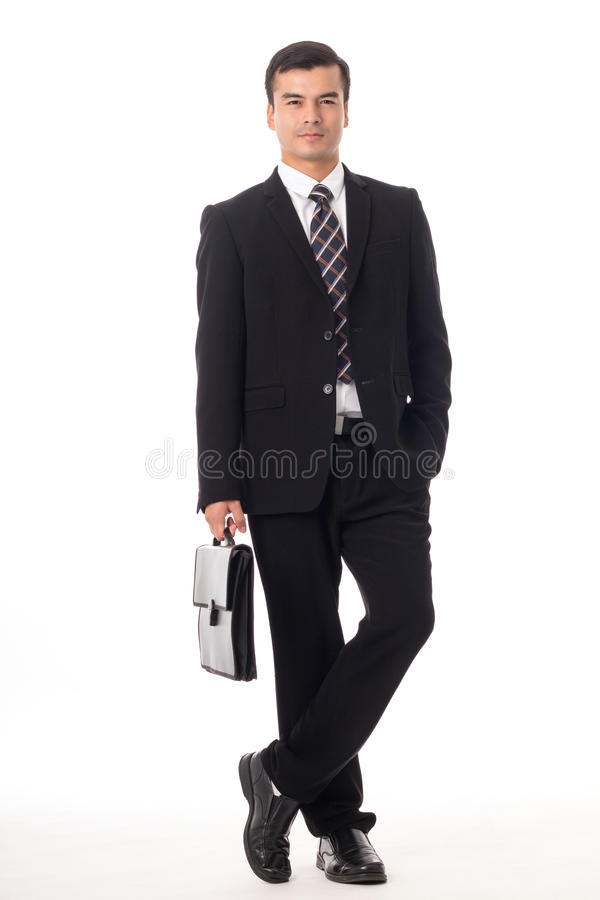 Businessman holding briefcase isolated royalty free stock photo