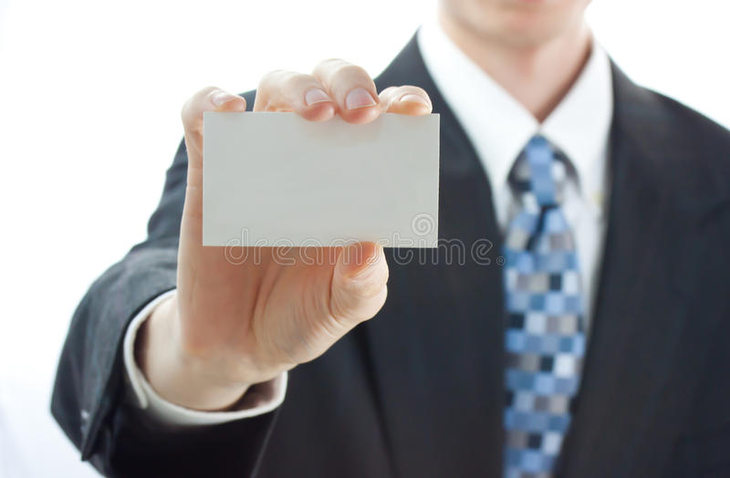 Businessman Holding Business Card royalty free stock photography
