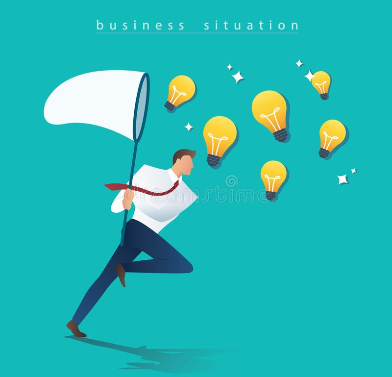 Businessman holding a butterfly net try to catch light bulb. idea concept royalty free illustration