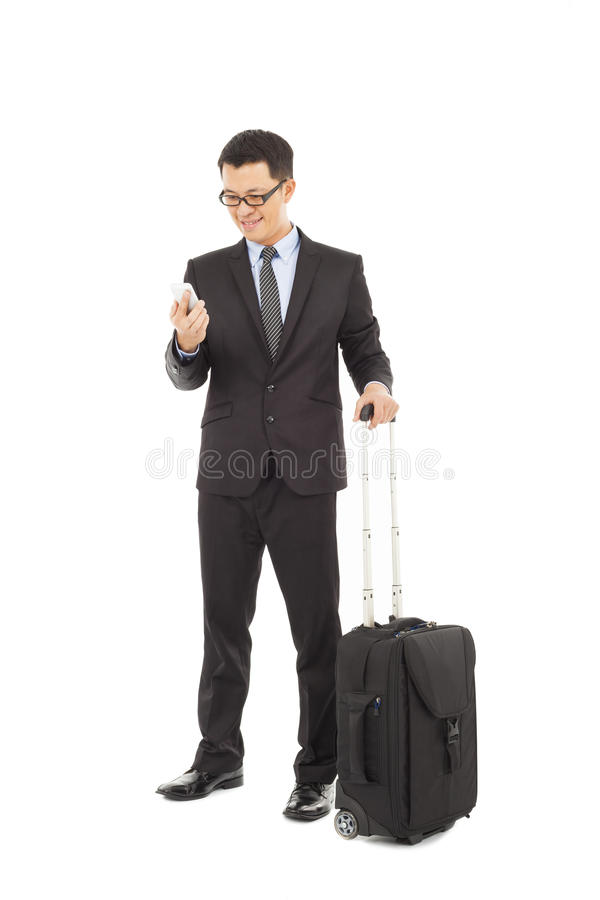 Download Businessman Holding A Cell Phone  With Briefcase Stock Image - Image: 38786209