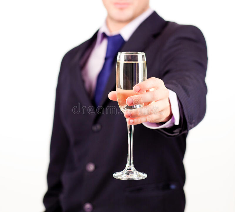 Businessman Holding A Champagne Glass Stock Photo