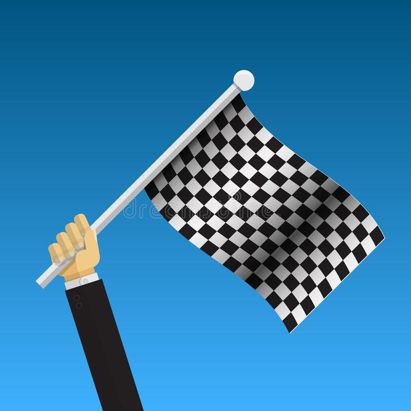 Businessman holding checker flag. royalty free illustration