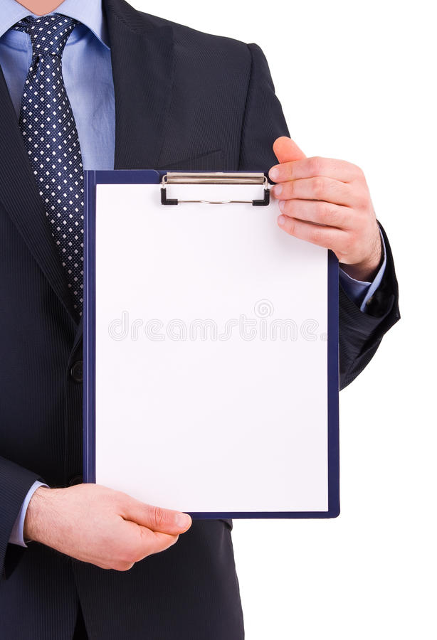 Businessman Holding A Clipboard. Stock Photos