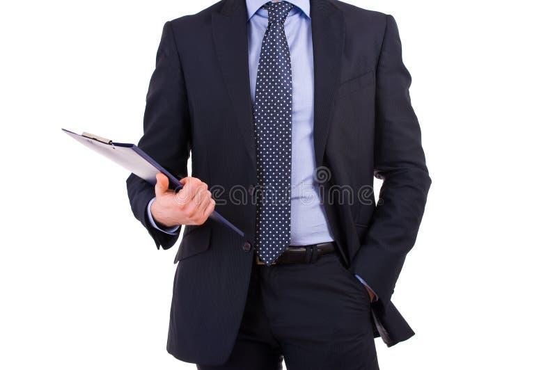 Businessman holding a clipboard.