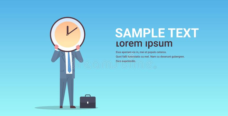Businessman holding clock in front of face effective time management deadline business efficiency concept horizontal royalty free illustration