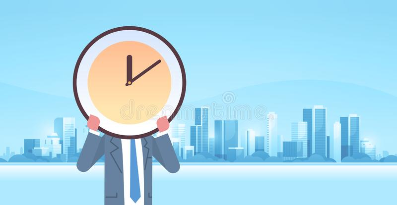 Businessman holding clock in front of face effective time management deadline business efficiency concept modern city royalty free illustration